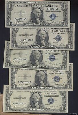 FIVE UNC blue seal $1 silver certificates, series 1935A 1935B 1935E 1935F 1935G