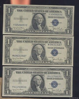 THREE UNC $1 blue seal silver certificates, 1935D (lot#3)