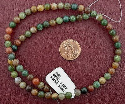 6mm Round Indian Agate Gem Stone Gemstone  Bead 15 Inch Strand