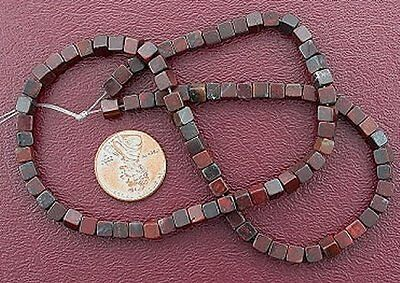 "4mm Cube Gemstone Breciated Jasper Beads 15"" Strand"