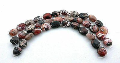 ONE  7 Inch Strand Of 14mm to 19mm Assorted Banded Oval Agate Gemstone Gem Beads