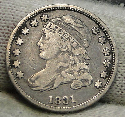 1831 Capped Bust Dime 10C 10 Cents - Nice Old Coin, Free Shipping  (5487)