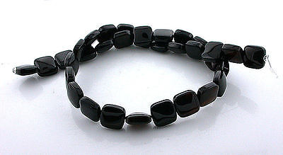 12mm Rounded Flat Square Natural Black Onyx Gemstone Beads 15 Inch Strand BSO77