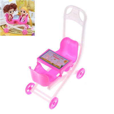 Pink Cute Barbie doll 2 Baby Stroller Girl's Gift Doll Accessories