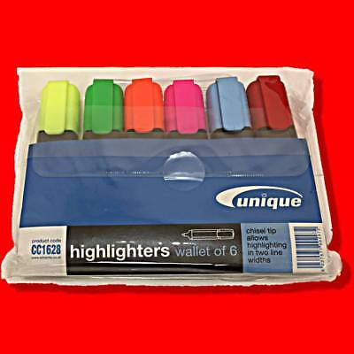 Initiative Highlighter Pens 6 Pack Wallet Assorted Colours Yellow Pink Green Etc