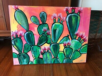 Original ABSTRACT ~CACTUS~succulent ~ PAINTING~signed by artist~RETRO~LARGE
