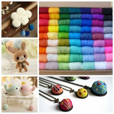 12Pcs 5g Wool Fibre Roving For Needle Felting Hand Spinning 100 Colors Random