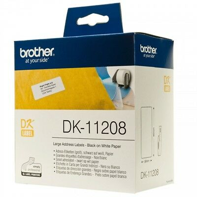 Genuine Brother DK-11208 White P-Touch Labels 38mm x 90mm - 400 Labels per pack