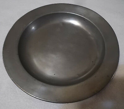 """Antique 9 1/2"""" Pewter Bowl/Plate Fein Z London Angel Marks Englisc"""