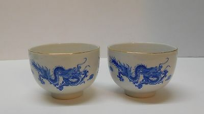 Dragon Footed Sake Tea Rice Soup Bowls Blue and White Darchung Chinese Set 2