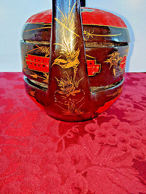 Vintage CHINESE WEDDING BASKET Oriental  Lacquered Woven Tiered Stacked