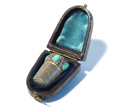 Antique German Silver, Gilt & Turquoise Stone Thimble in Case, Gebrüder Gabler