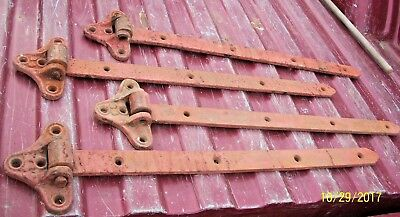 """Set Of 4, 24"""" Long,  Antique Cast Iron Barn Door Hinges, With Nice Old Red Paint"""