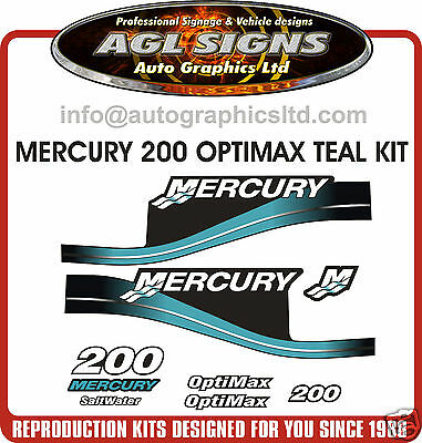 MERCURY 200 OPTIMAX TEAL OUTBOARD DECAL SET,  150 225 250  saltwater EFI