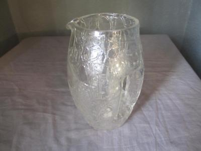 Glass 'Ice Glass' Jug by Moser Vintage Art Deco c.1930's. JYH02713