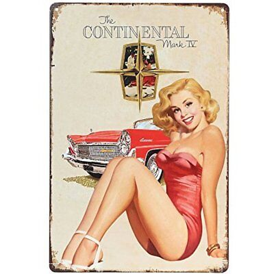 "The Continental Pin-up Girl Retro Vintage Tin Sign 12"" X 8"" Inches"