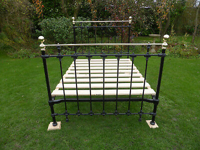 Victorian Cast Iron + Brass Bed. Beautifully Restored Double. 4ft 6""