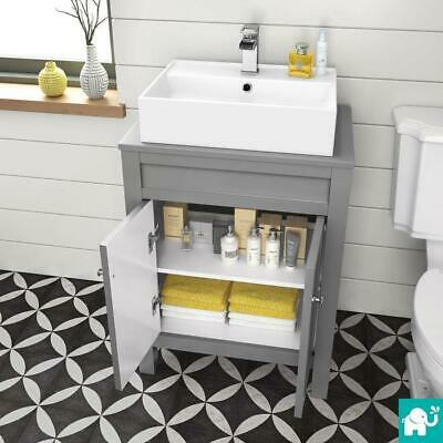 Bathroom Vanity Unit With Counter Top Basin Options Traditional Matte Grey