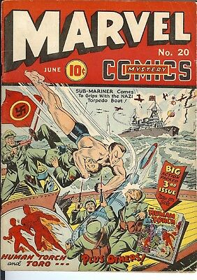 Marvel Mystery #20 Timely,Torch,Namor,Vision,WWII cover