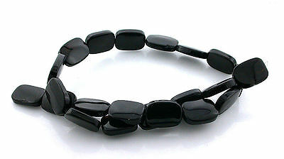 18x13 Cushion Rectangle Natural Black Onyx Gemstone Beads 15 Inch Strand BSO44