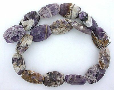 25x18 Cushion Amethyst Quartz Host Rock Primitive Cut Bead 15 Inch Strand ab15