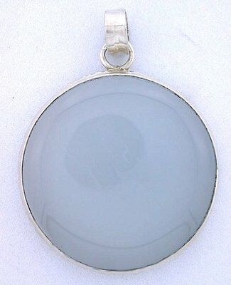 Natural Round Blue Agate Cabochon Pure 925 Sterling Silver Closeout Pendant Csp4