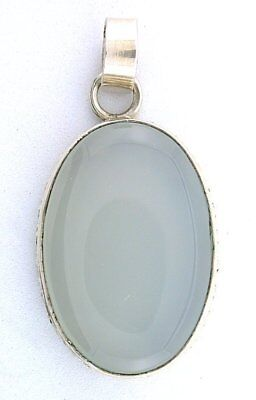Natural Oval Blue Agate Cabochon Pure 925 Sterling Silver Closeout Pendant Csp9