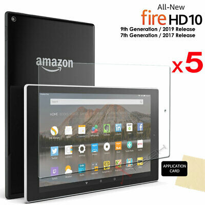 5x CLEAR Screen Protector Covers for Amazon Fire HD 10 2017 Alexa 7th Gen