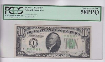 Federal Reserve Note $10 1934-B   PCGS Graded choice about new 58PPQ