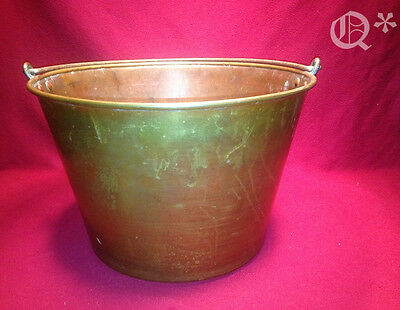 Antique 1800s Brass Bucket w Iron Bail American Brass Kettle Manufacturer