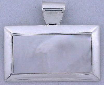 Pure .925 Sterling Silver Rectangle Mother Of Pearl Gem Gemstone Pendant ebs3170