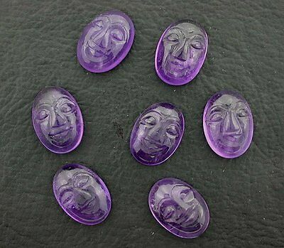 ONE 18x13 Natural Carved Amethyst Face Gem Stone Gemstone Cabochon 18mm x 13mm