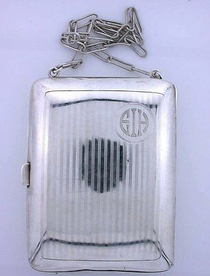 VINTAGE 100 YEAR OLD ANTIQUE PURE .925 STERLING SILVER LEATHER INSERT ebs5374