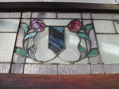 Antique 1900s Art Nouveau Deco Stained Glass Transom Framed Window Pittsburgh