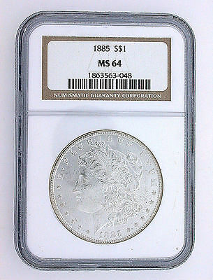 1885 P Morgan Silver Dollar Bright Brilliant Uncirculated Toning MS64 NGC Slab