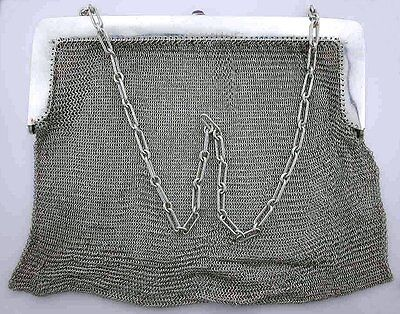 100 YEAR OLD ANTIQUE STERLING SILVER HEAVY LARGE PURSE AMETHYST CLASP ebs5326
