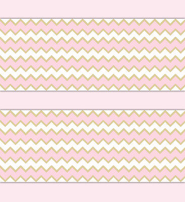 Pink Gold Chevron Wallpaper Border Wall Art Decals Baby Girl Nursery Stickers