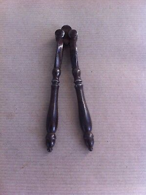 LOVELY DECORATIVE PAIR of ANTIQUE STEEL NUTCRACKERS 4.7  inches
