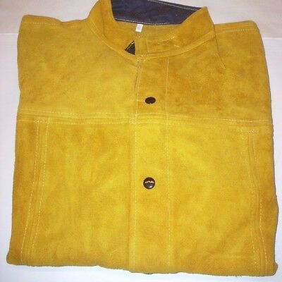 """Leather Welding Cutting Safety Jacket 30"""" Long Snap Front Inside Pocket Size XL"""