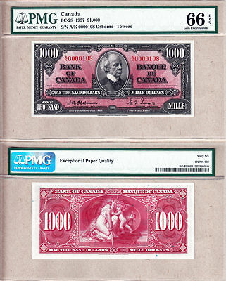 Low Serial# 0000108 1937 $1000 Bank of Canada Osborne PMG GEM UNC66 EPQ