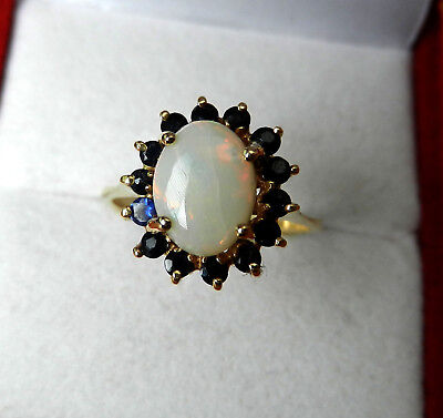 Vintage 14k Yellow Gold HALO Style Opal & Blue Sapphire Ring