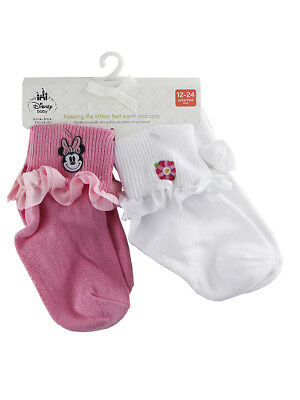 Disney Store Baby Girls Minnie Mouse Pink & White 2-Pack Socks Set, 12-24 Months