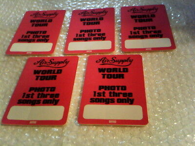 Wholesale Lot Of 5 Air Supply World Tour Original Vintage Otto Backstage Pass""