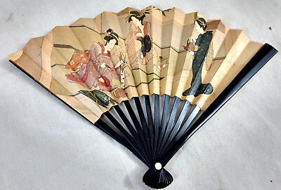 "Vintage 6"" Japanese Paper Bakelite Celluloid Fan Geisha GIrls Women Art Graphics"