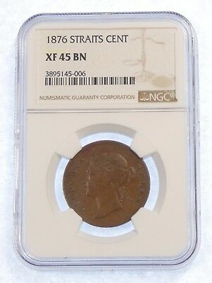 1876 Straits Settlements (Malaysia) Cent NGC XF 45 BROWN ~ Catalog in XF40 $200