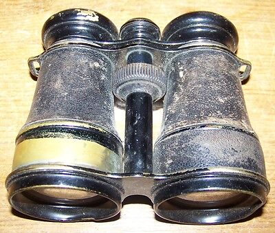c1915 WWI ANTIQUE CHAMPOUX PARIS HUNTING FIELD MILITARY BINOCULARS + COMPASS