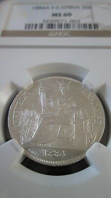 French Cochin China 20 Cents 1884A NGC MS 60
