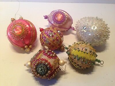 Vintage Antique Handmade Hand Beaded Christmas Ornaments Six Large Victorian