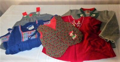 Lot Of 5 Vintage European Velvet & Wool Toddler Clothing & 2 Teddy Bear Pins