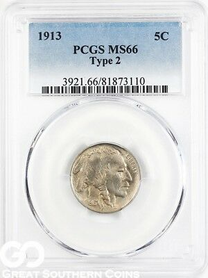 1913 PCGS Buffalo Nickel Type 2, PCGS MS 66 ** Nice Better Date, Free Shipping